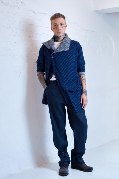 Blue asymmetrical unisex jacket